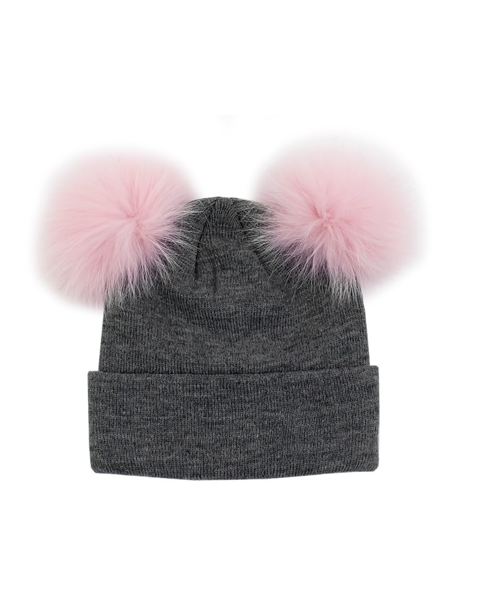 Knit Hat With 2 Fox Poms