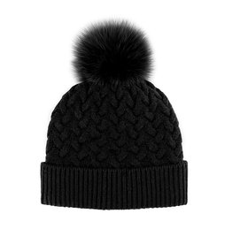 Braided Knit Hat with Fox Fur Pom