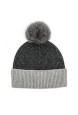 2 Colour Knit Hat with Fox Pom