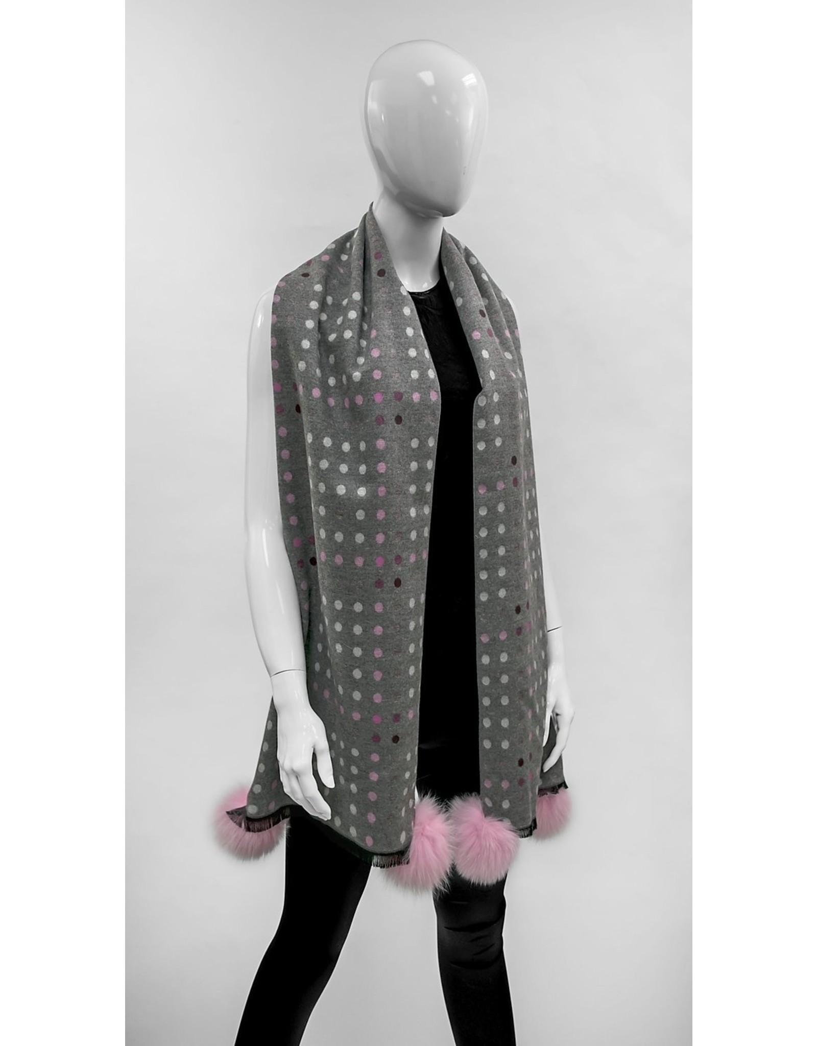 Polka Dot Scarf Grey and Pink - SC0737
