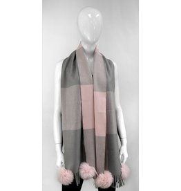 Pink and Grey Checkered Scarf