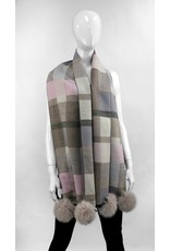 Checkered Scarf with Fox Pom - SCCO67