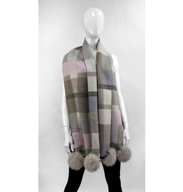 Checkered Scarf with Fox Pompoms