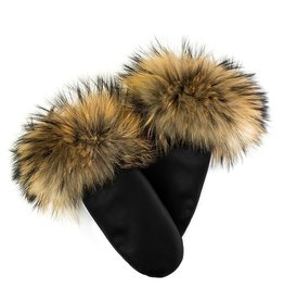 Leather Mitts with Finn Raccoon Trim