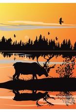 Caribou Sunset by Mark Preston Card