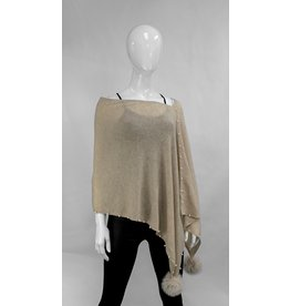 Poncho with Pearls and Fox Fur Trim