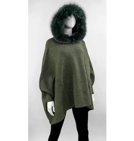 Fox Trimmed Hooded Poncho