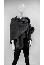 Wool Wrap with Studs and Fox Fur - WRIM30