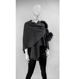Wool Wrap with Studs and Fox Fur