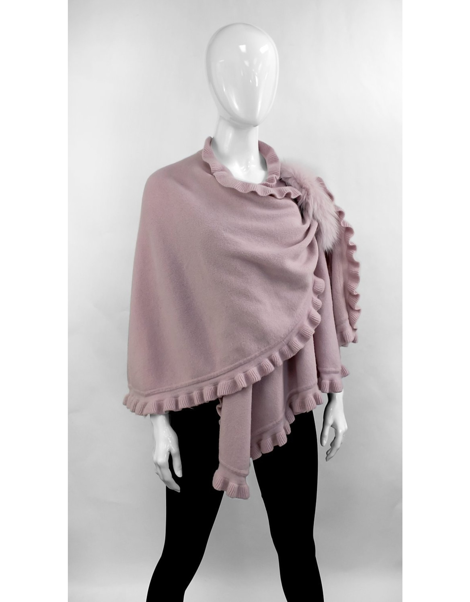 Wool Wrap with Ruffles and Fox - WRIM29