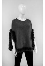 Wool Poncho with Fox Trim IMW47