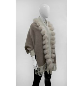Reversible Wrap with Fringes and Fox Fur Trim