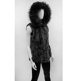 Reversible Nylon and Rabbit Fur Vest with Fox Fur Trimmed Hood