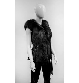 Black Leather Vest with Fox Fur