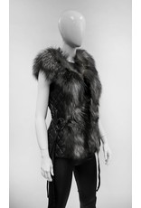 Black Leather Vest with Fox Fur