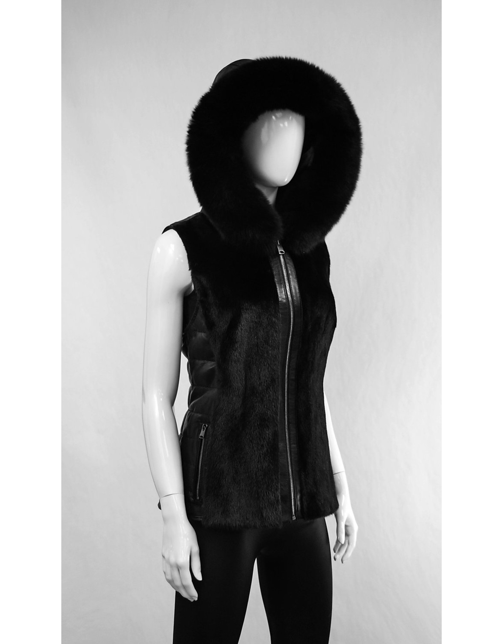 Leather Mink Vest with Fox Trim