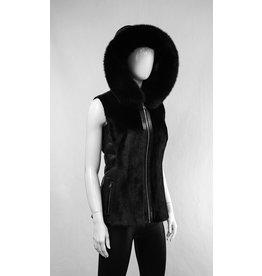 Leather & Mink Vest with Fox Fur Trimmed Hood