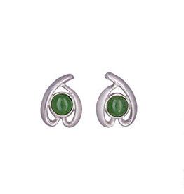 Jade Round Post Earrings