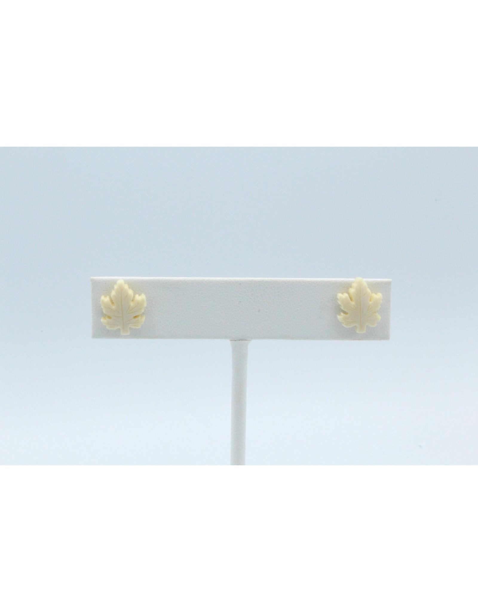 Maple Leaf Mammoth Ivory Earrings - MES51