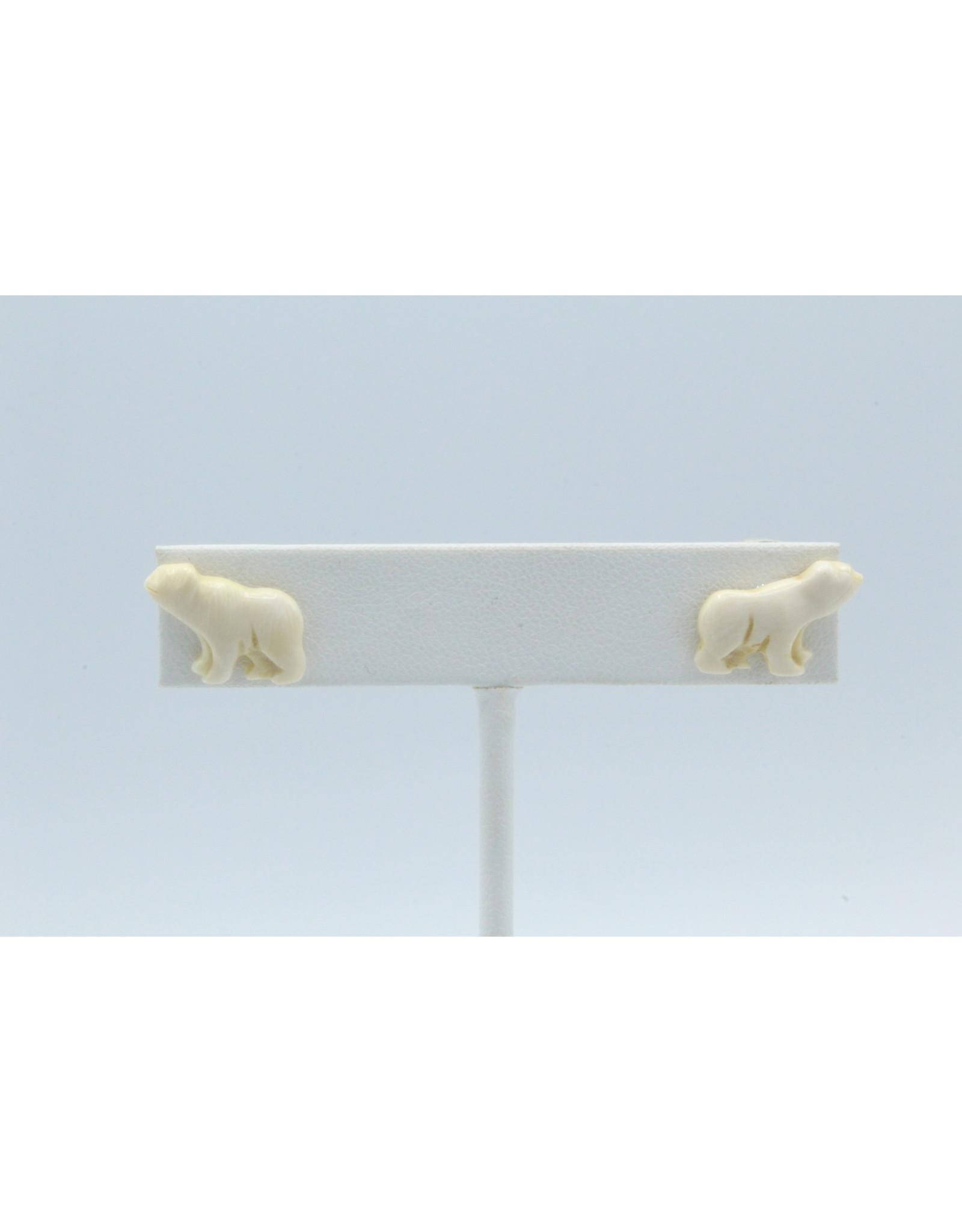 Mammoth Ivory Bear Earrings - MES52