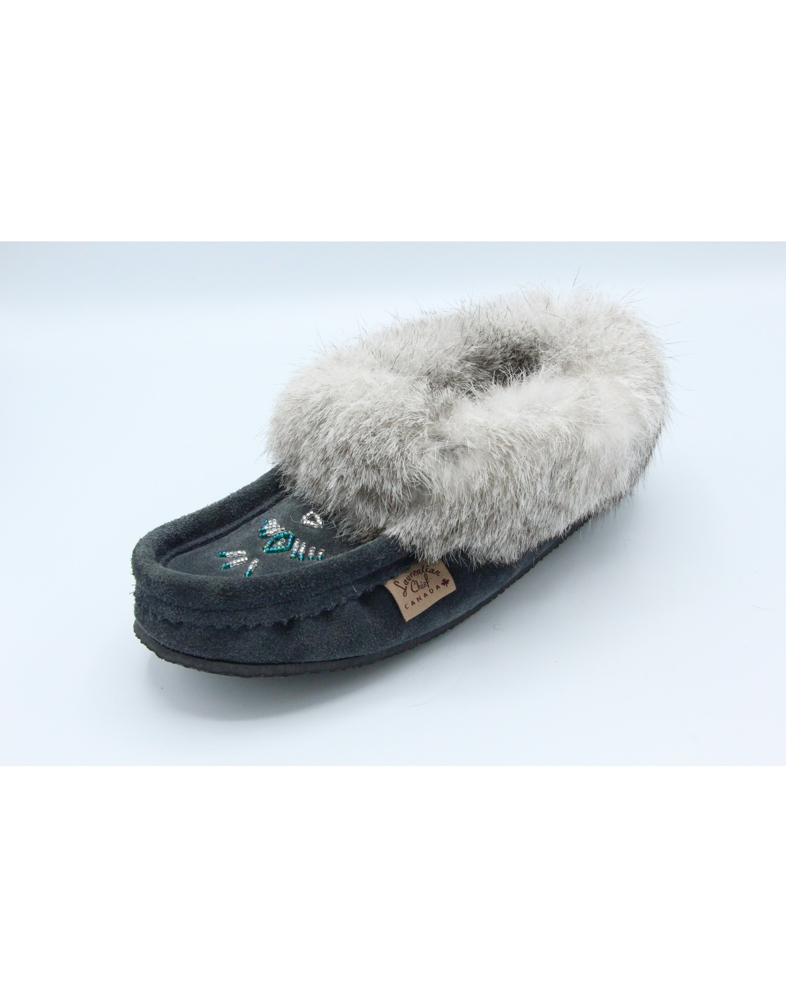 Navy Blue Suede Fur Slipper Moccasin with Rubber Sole - 12658L