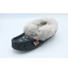 Navy Blue Suede Fur Slipper Moccasin with Rubber Sole