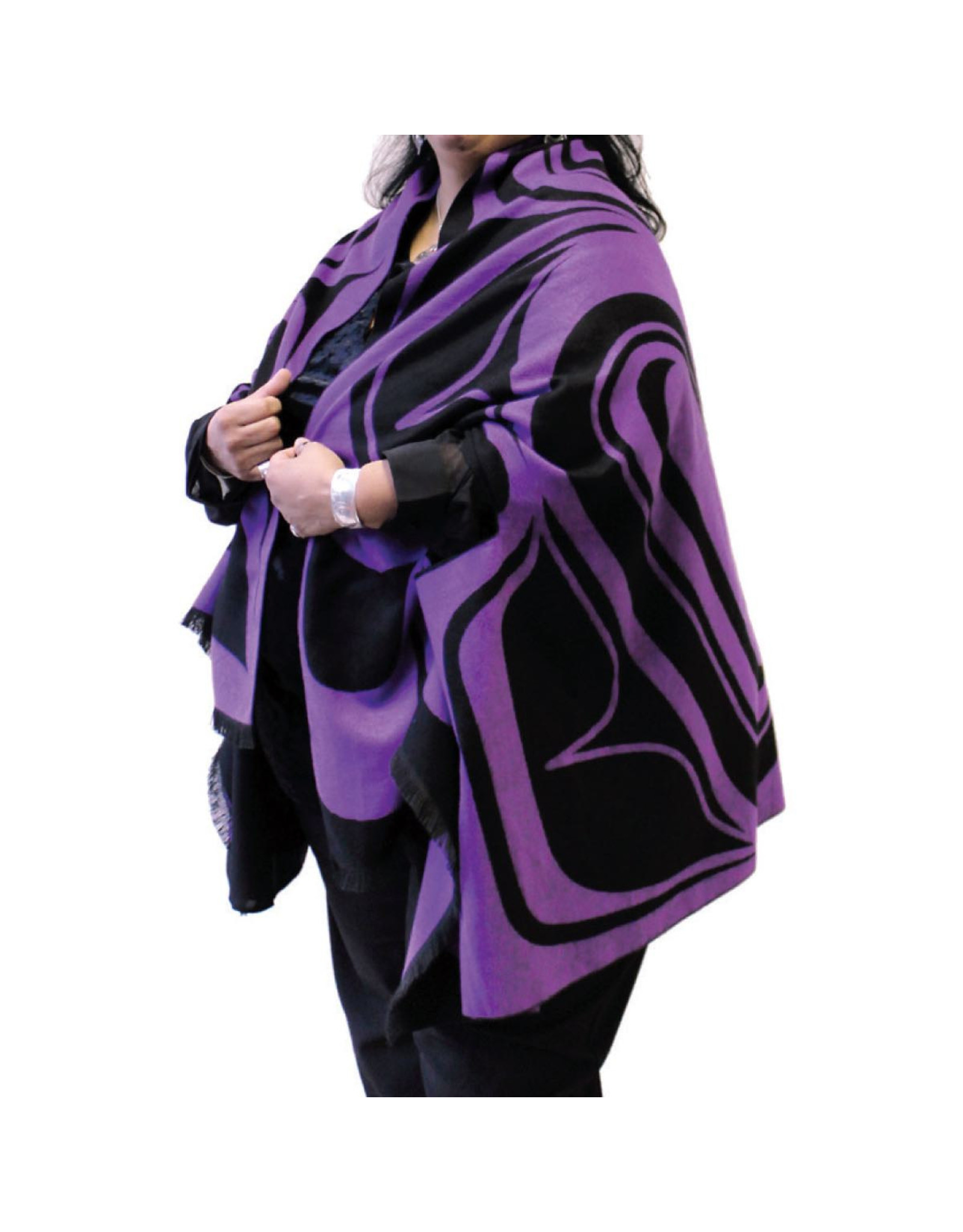 Reversible Fashion Cape - Eagle by Roger Smith (Black & Purple)
