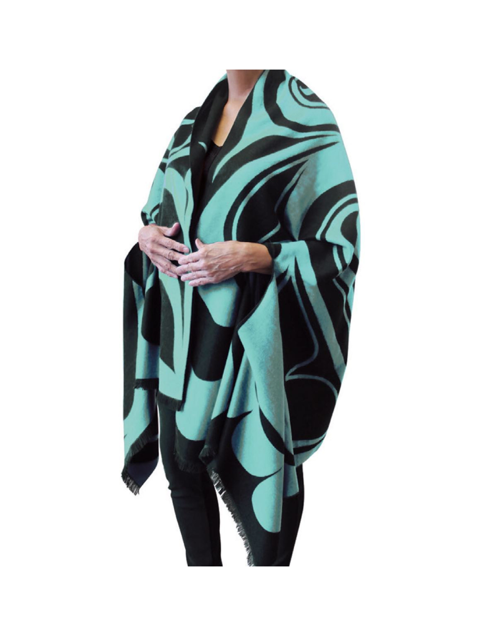 Reversible Fashion Cape - Eagle by Roger Smith (Black & Teal)