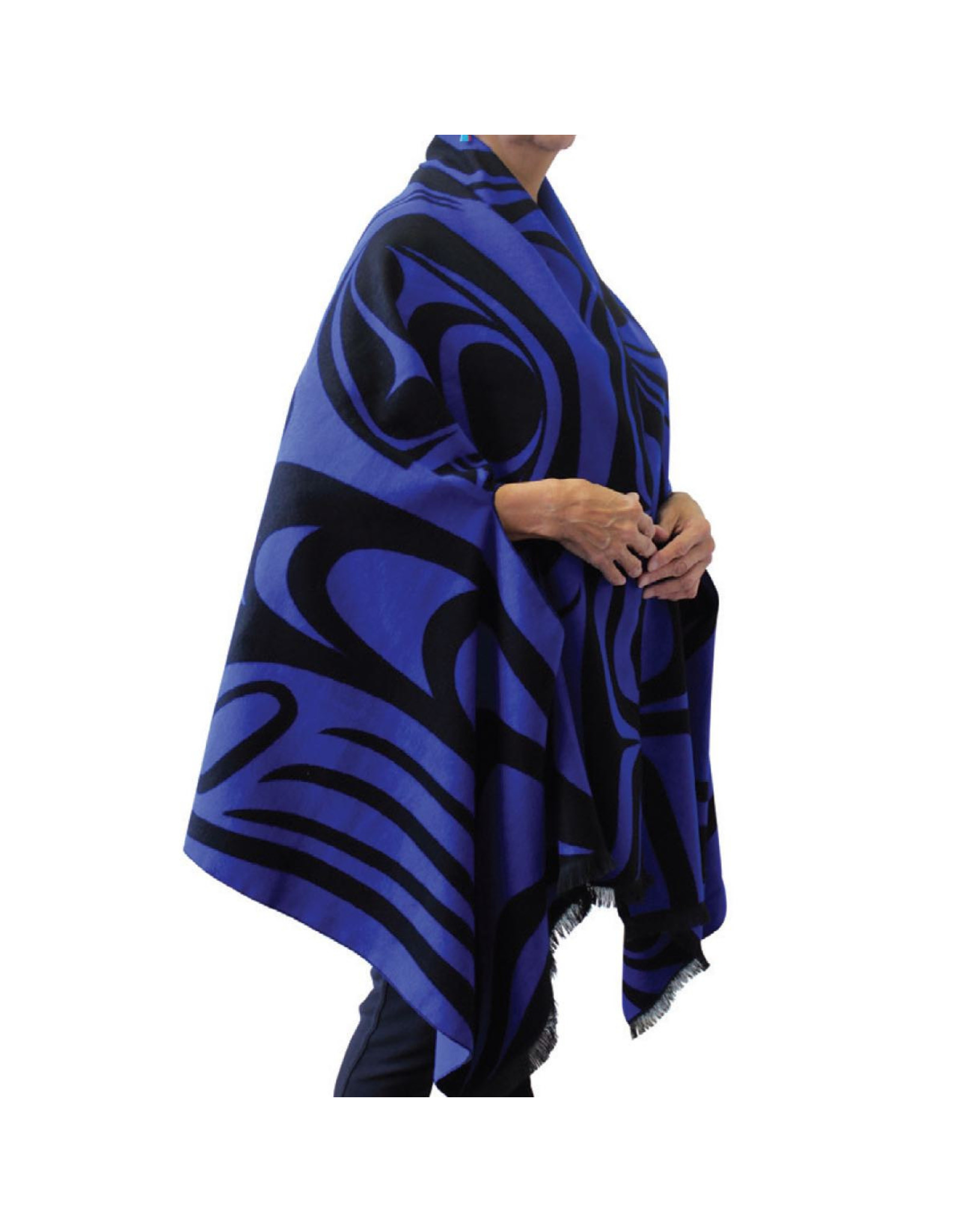 Reversible Fashion Cape - Spirit Wolf by Paul Windsor (Black & Blue)
