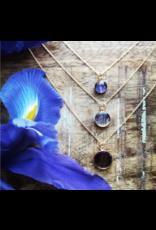Quebec Blue Flag Iris Gold Necklace 12mm - QC0112G