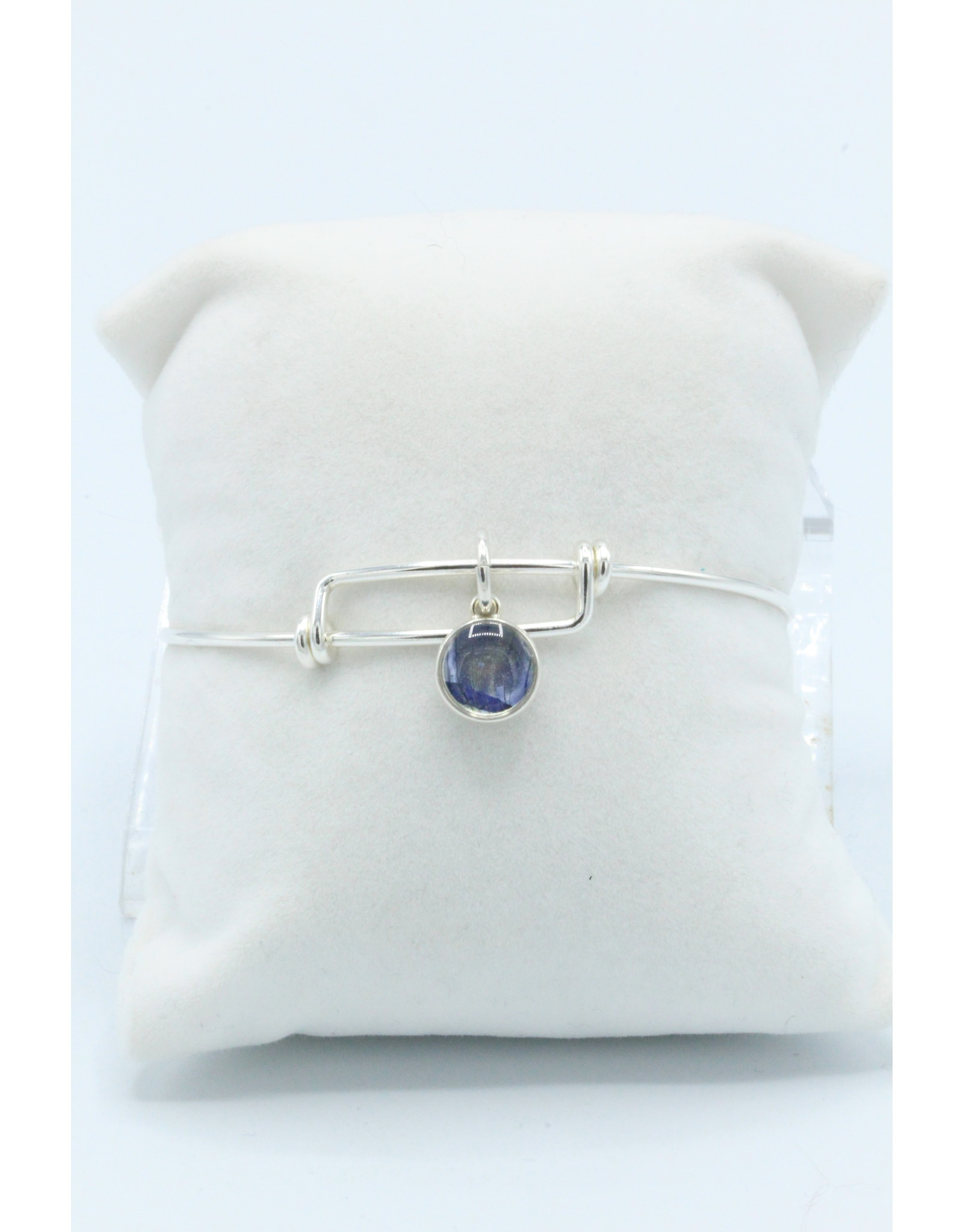 Quebec Blue Flag Iris Silver Expandable Bangle - QC02E