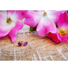 Alberta Wild Rose 5mm Silver Earrings