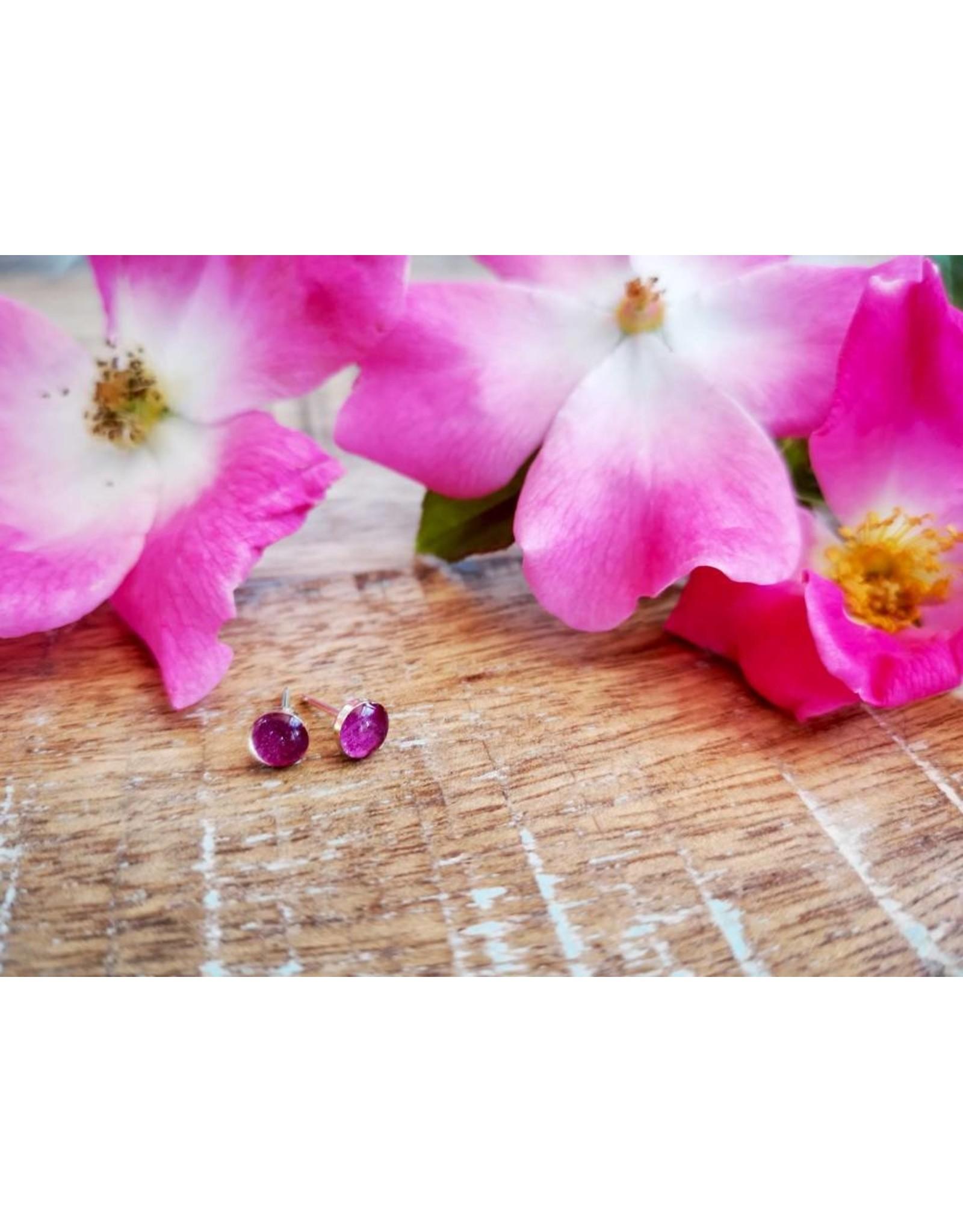 Boucles d'Oreilles Argent 4mm Rose Sauvage d'Alberta  - AB0504S