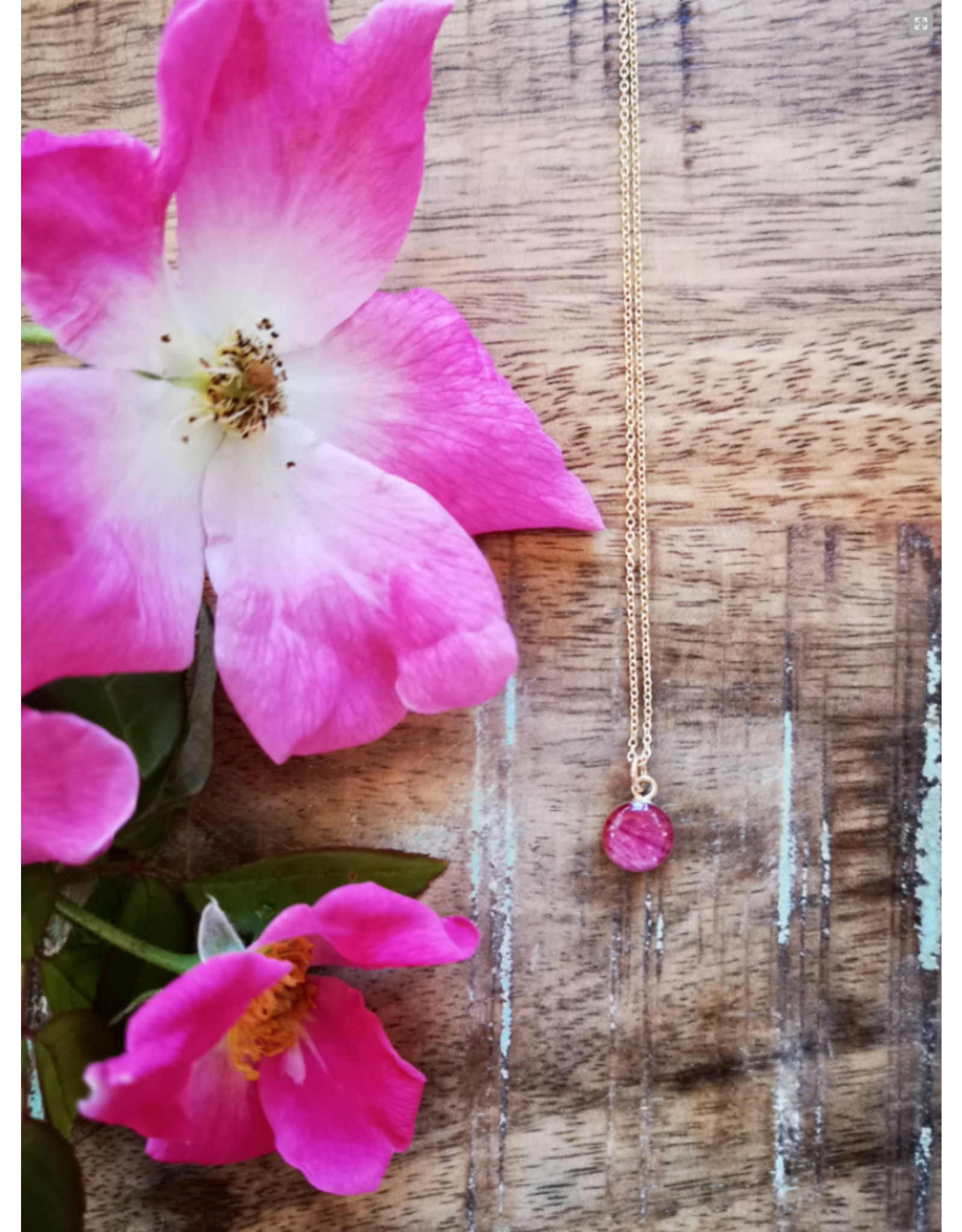 Collier Plaqué Or Rose Sauvage de l'Alberta 8mm- AB0108G