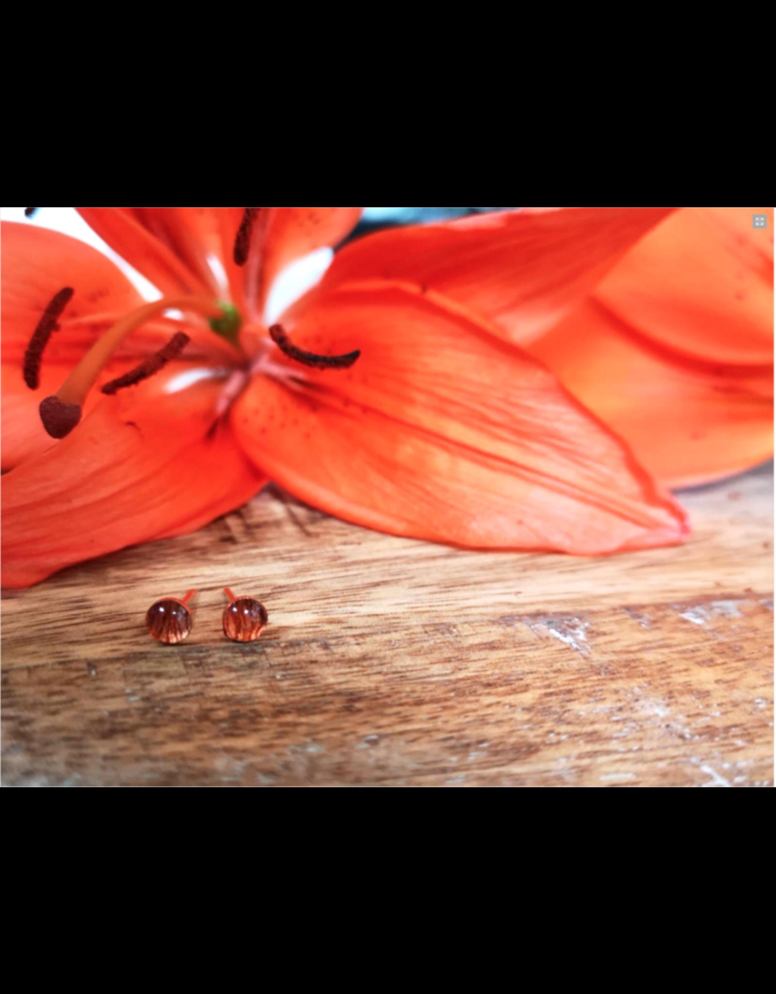 Saskatchewan Tiger Lily 4mm Gold Earrings - SK0504G