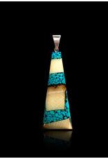 Collier Ivoire de Mammouth et Turquoise Large 'Dima' - DFT2