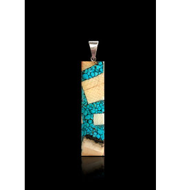 Dima Large Rectangle Necklace with Turquoise