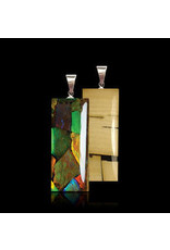 Double Sided Rectangle Necklace Mammoth Ivory and Ammolite - LR