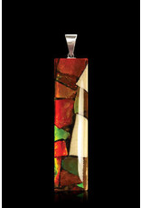Mammoth Ivory and Ammolite Large Rectangle Necklace - DR2