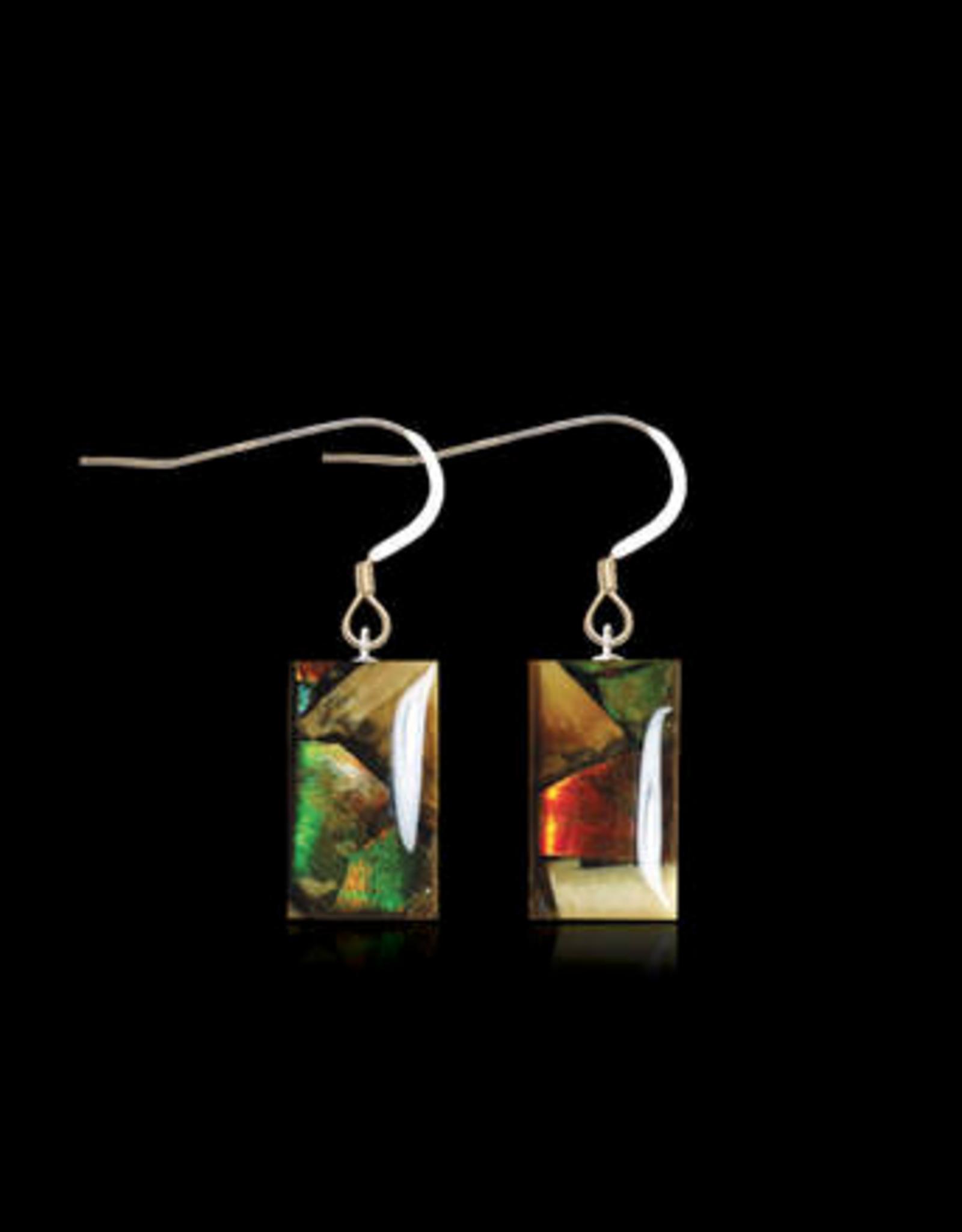 Dima Rectangle Earrings Mammoth Ivory & Ammolite - DR3