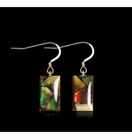 Dima Rectangle Earrings Mammoth Ivory & Ammolite - DR3