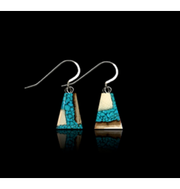 Dima Flare Earrings Mammoth Ivory & Turquoise - DFT3