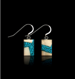 Dima Rectangle Earrings Mammoth Ivory & Turquoise - DRT3