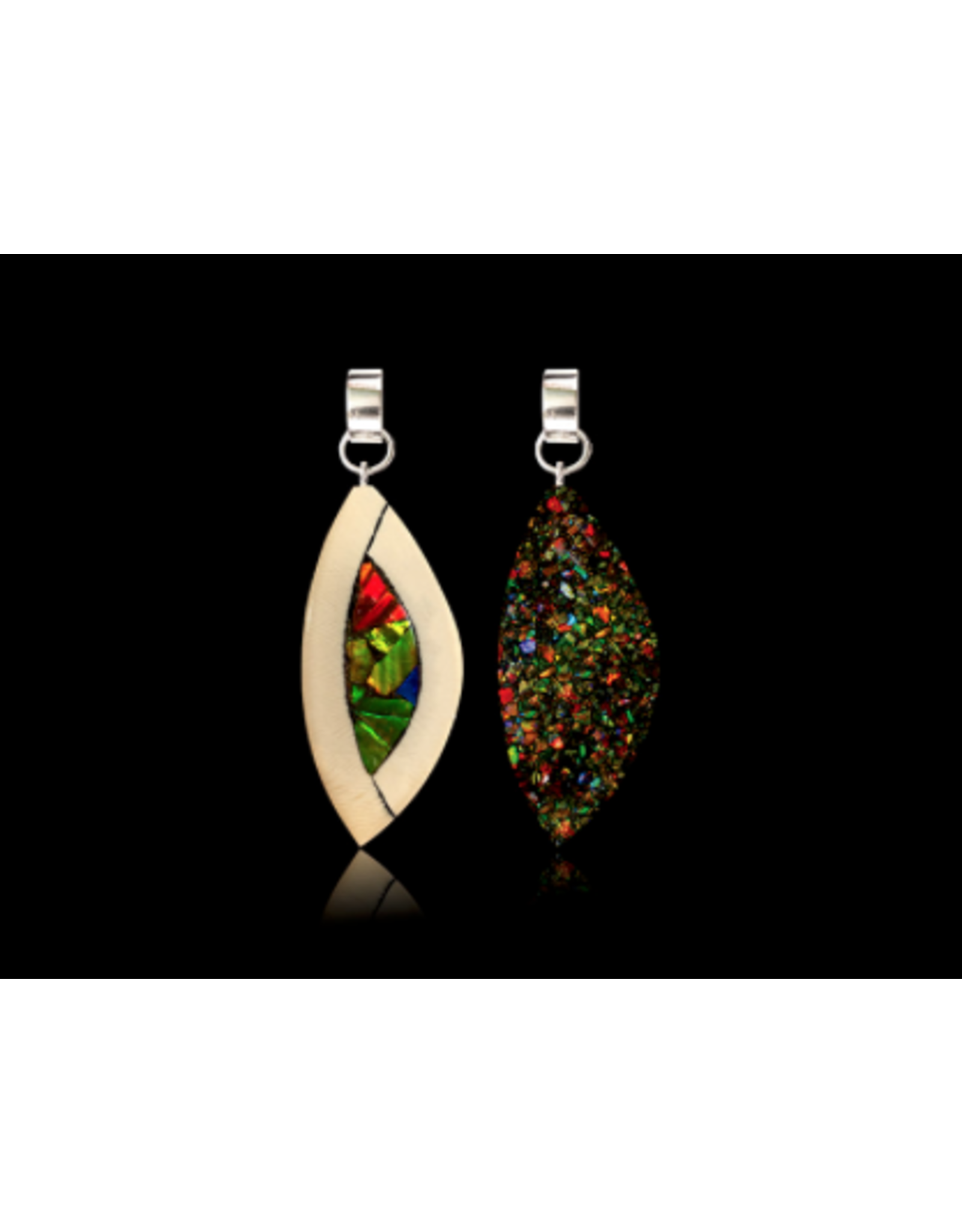Yuka Small Pendant Mammoth Ivory & Ammolite Double Sided - YSD