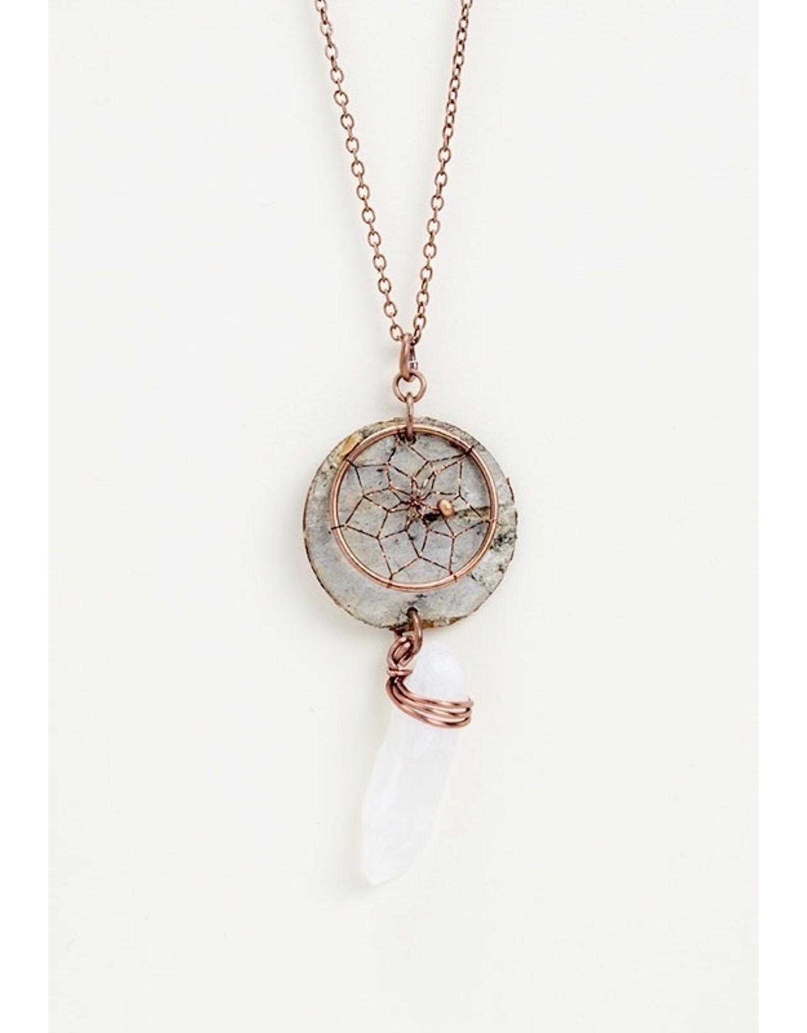 Birch Bark Dreamcatcher Necklace - BB7-P