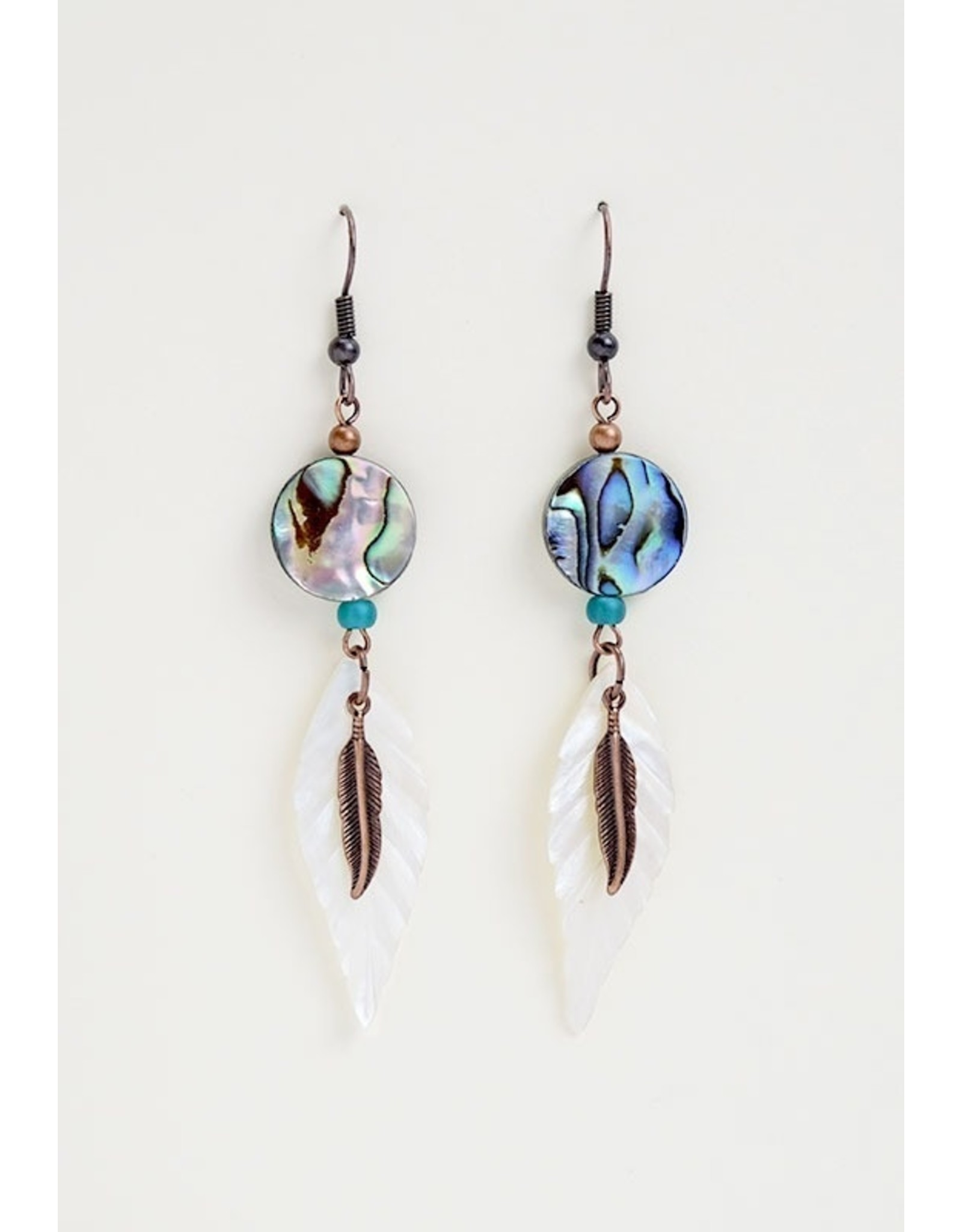 Paua Shell and Feather Earrings - ME1411