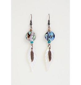 Boucles d'oreilles coquille Paua et plumes