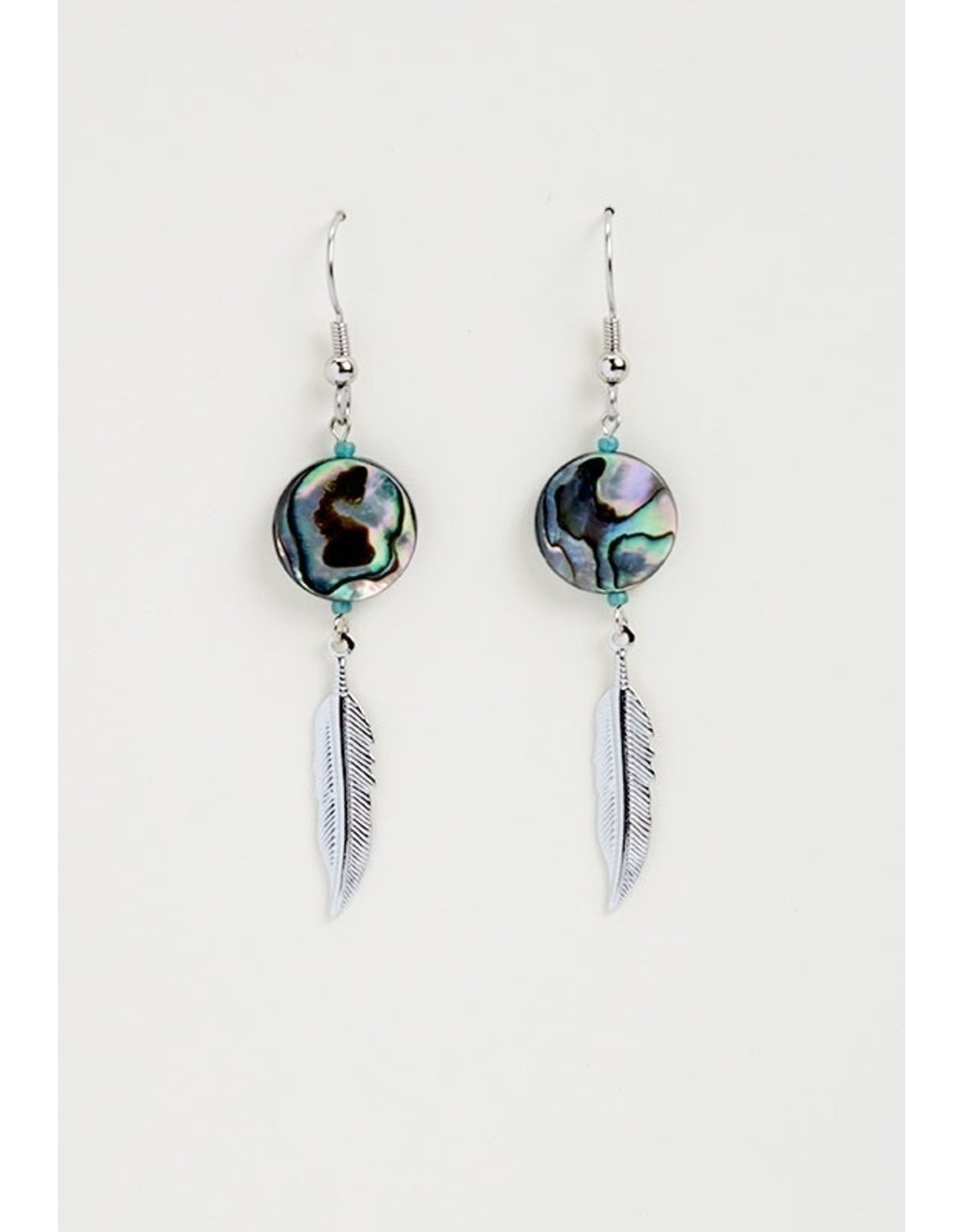 Paua Shell and Feather Earrings - ME1406