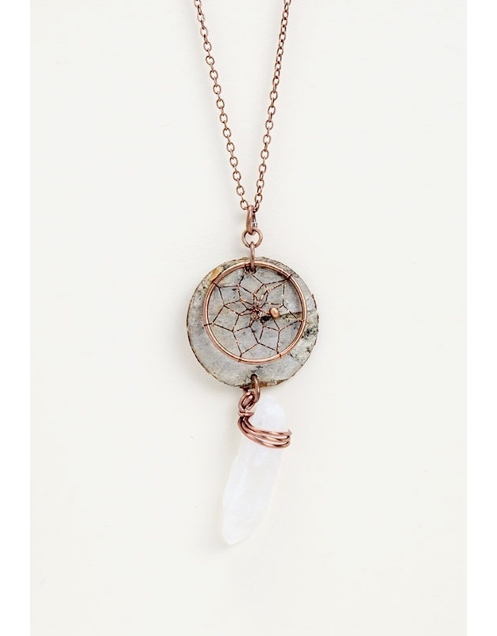 Birch Bark Dreamcatcher Necklace - BB7-P