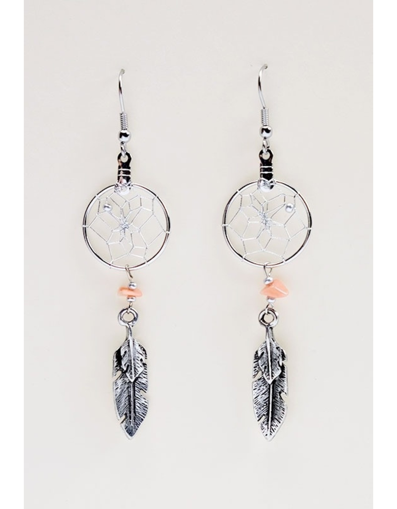 Dreamcatcher Earrings with Feather Charm - DC4